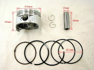 63.5mm Piston set for CG200cc ATVs, Dirt Bikes & Go Karts
