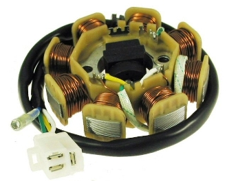 50cc 8-COIL DC STATOR FOR SCOOTERS WITH QMB139 (4 PIN / 2 PLUG)