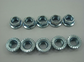 M10 / 10mm FLANGE NUTS (10 PIECES)