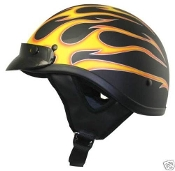 THH T-69 HALF HELMET FLAT BLACK WITH FLAMES (EXTRA SMALL) DOT