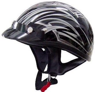 THH T-69 HALF HELMET BLACK AND SILVER TATTOO (EXTRA SMALL) DOT